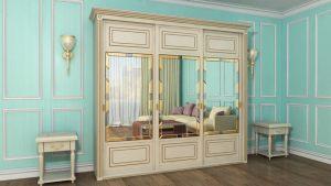 Шкаф купе с фрезеровкой и зеркальным панно Северодвинск