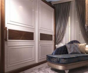 Шкаф купе с эмитацией филенки и фигурной накладкой, ламинация, шпон, эмаль Северодвинск